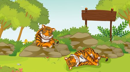 Scene with two sad tigers in the park illustration