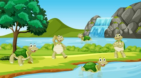 Scene with many turtles in the park illustration
