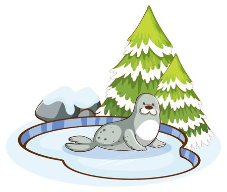 Scene with cute seal in the snow illustration
