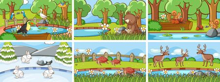 Background scenes of animals in the wild illustration