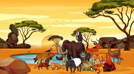 Scene with wild animals in the field illustration
