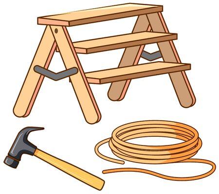 Set of ladder and hammer illustration
