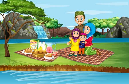 Scene with family picnicing in the park illustration