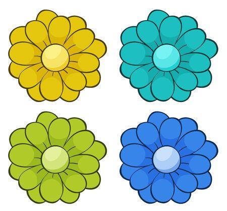 Isolated set of flowers illustration