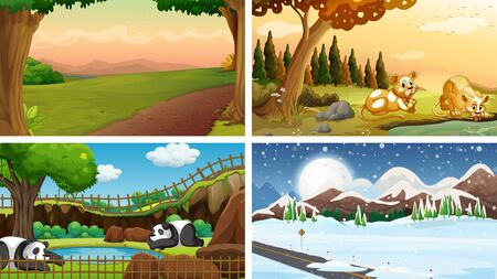 Four scenes of nature with many animals illustration