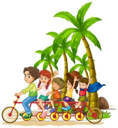 Family riding tandem bike on the beach illustration Standard-Bild - 134607183
