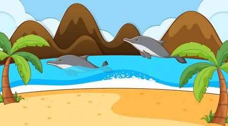 Scene with dolphin in the sea illustration