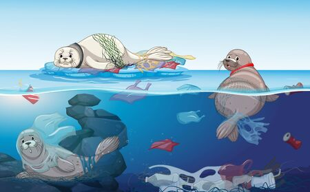 Scene with seals and plastic bags in the ocean illustration