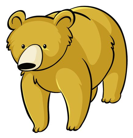 Yellow bear on white background illustration