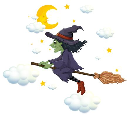 Green witch on flying broom at night illustration Vettoriali