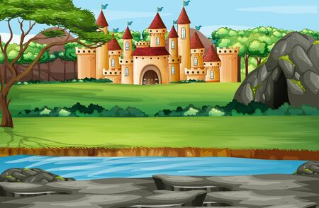 Scene with castle towers in the park illustration
