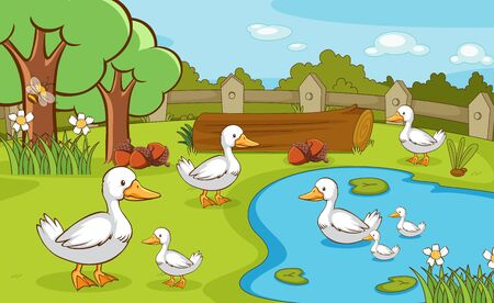Scene with ducks in the pond illustration