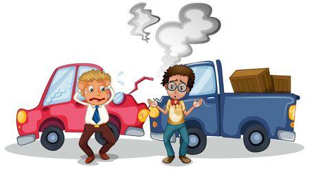 Accident scene with car crash illustration Ilustração