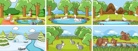 Background scenes of animals in the wild illustration Иллюстрация