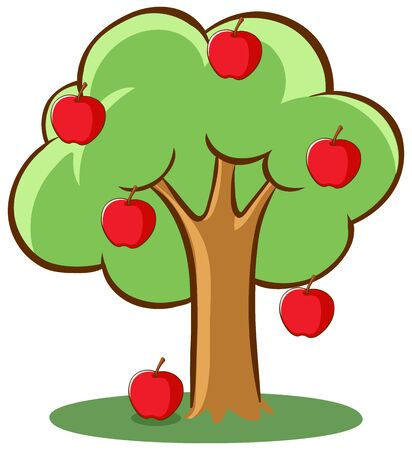 Apple tree on white background illustration