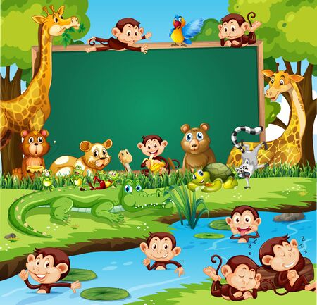 Border template design with cute animals in forest illustration Иллюстрация