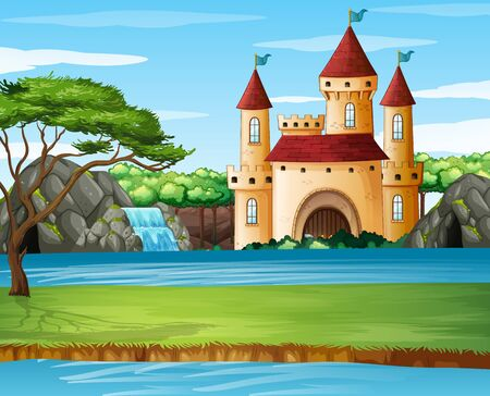 Scene with castle towers by the lake illustration