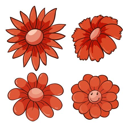 Isolated set of flowers in red illustration