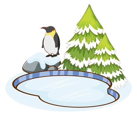 Penguin standing by the pond illustration