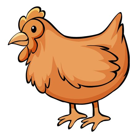 Brown chicken on white background illustration Foto de archivo - 134608271