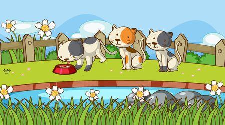Scene with cute kittens in garden illustration