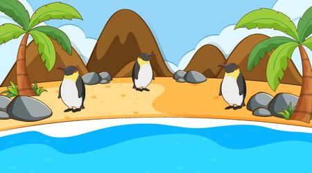 Scene with penguins on the beach illustration