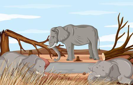 Deforestation scene with dying elephant illustration Standard-Bild - 134686810