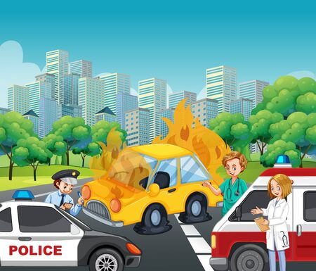 Accident scene with policeman and ambulance on the road illustration