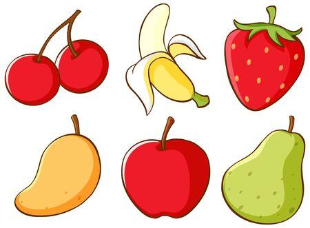 Isolated set of fruits illustration