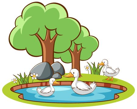 Isolated picture of ducks in the pond illustration Иллюстрация