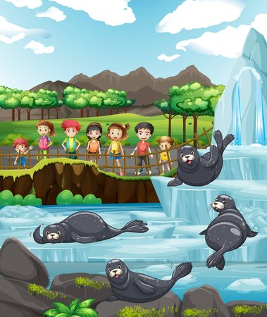 Scene with children and many seals illustration