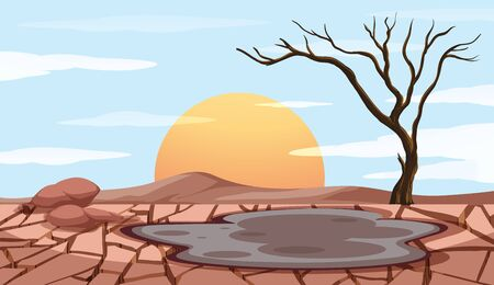 Pollution control scene with dry land illustration