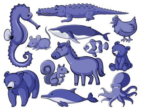 Set of many animals in blue illustration Illusztráció