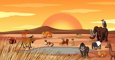 Scene with many animals in the field illustration Illustration