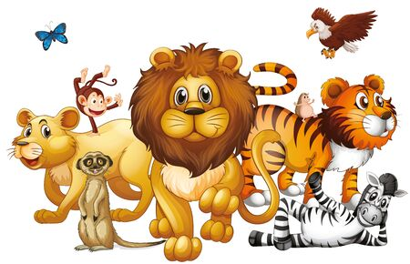 Wild animals on white background illustration