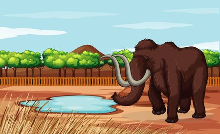 Scene with woolly mammoth in the field illustration Illustration