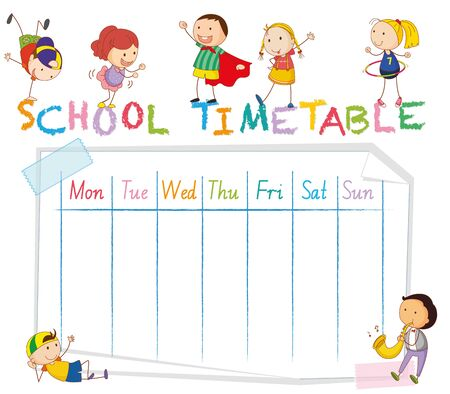 School time table with doodle children illustration Stockfoto - 134608479