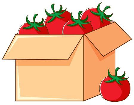 Box of tomatoes on white background illustration Ilustração