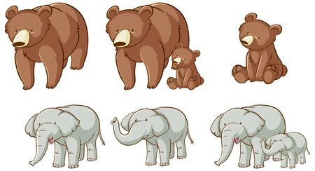Isolated picture of bears and elephants illustration