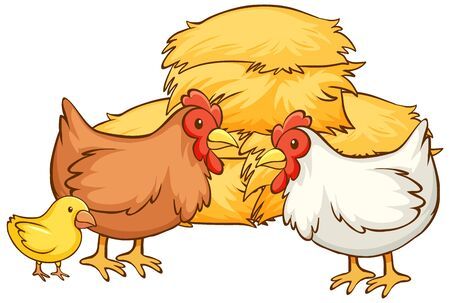 Isolated picture of chickens and hay illustration Foto de archivo - 134608531
