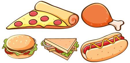 Isolated set of food illustration
