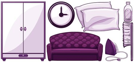 Household items in purple illustration