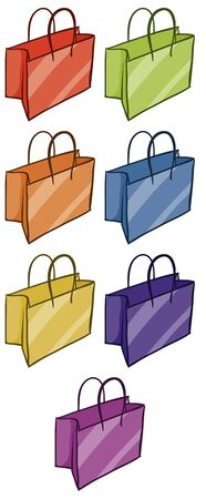 Isolated set of shopping bags in different color illustration Ilustração