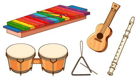 Isolated set of instruments on white background illustration