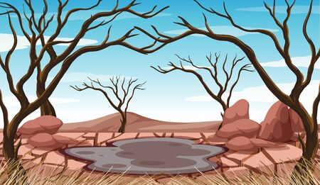 Scene with mud pond and dried trees illustration Standard-Bild - 134610232