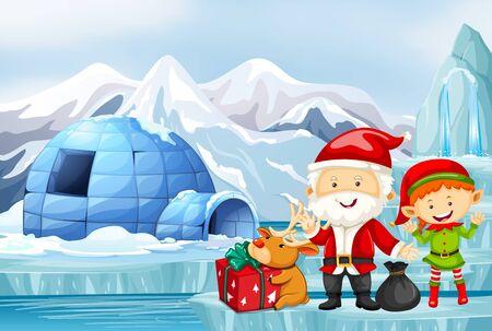 Christmas scene with santa and elf illustration