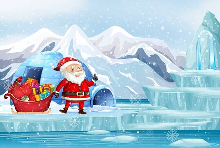 Christmas scene with santa in northpole illustration