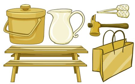 Isolated set of household items in yellow illustration