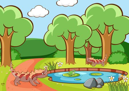 Scene with lizard in the park illustration