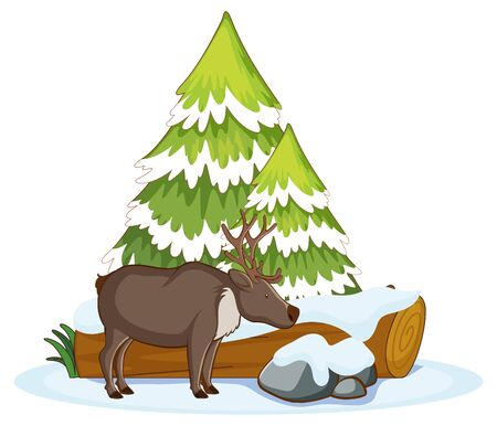 Scene with reindeer in the snow illustration
